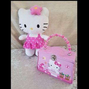 Pretty pink Hello Kitty plush and tin box